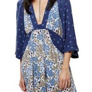 FREE PEOPLE ll Tallula's Blue Mini Dress, Small